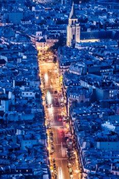 Rue de Rennes et église St-Germain-des-prés depuis la tour Montparnasse