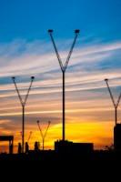 Skyline du parvis de la BNF au coucher du soleil.