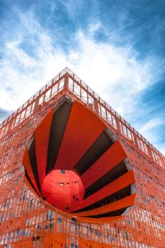 Le cube orange à Lyon. Architectes : Jakob & MacFarlane